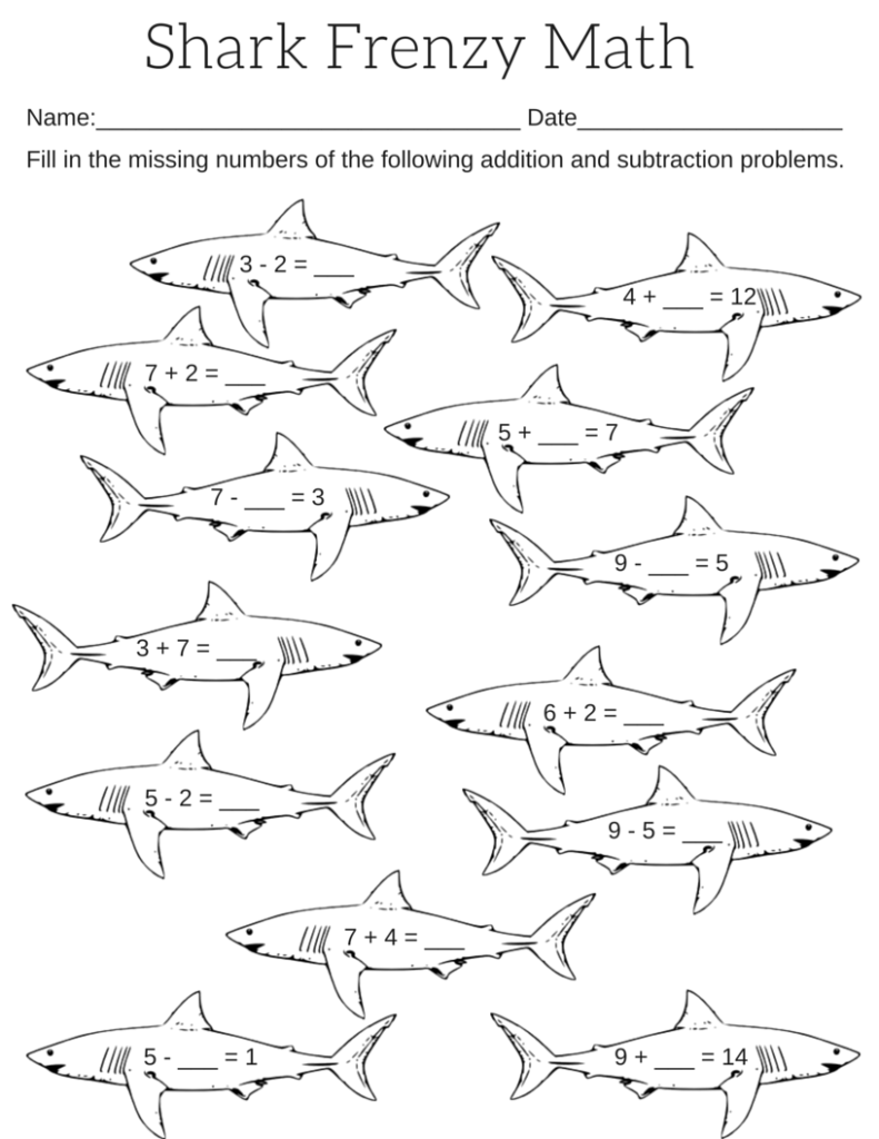worksheet Shark Worksheets For Kids printable shark frenzy math worksheet worksheets worksheet