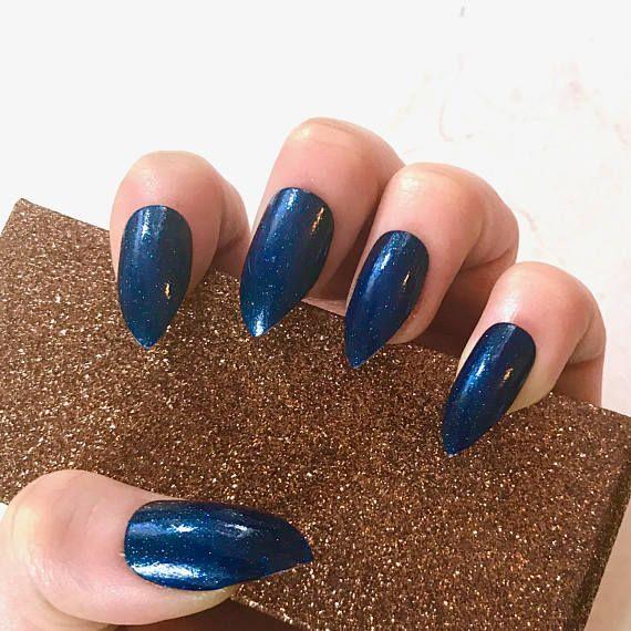 DeepSeaBlue Jelly Fake Nails - Kitten Claws - Talon/Stiletto Shape ...