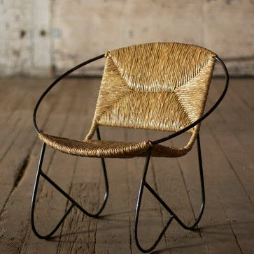 Round Metal Tube Chair With Woven Rush Seat Eclectic Chairs