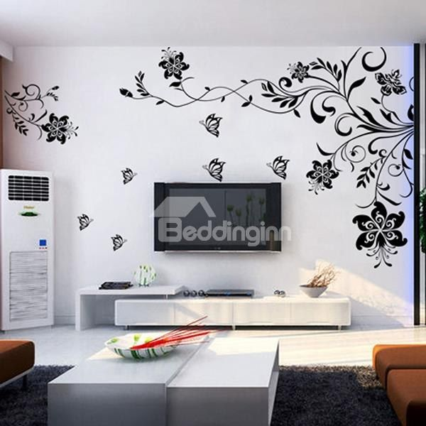 Black Flowers Removable TV/Sofa Background Wall Stickers. Black  FlowersRemovable Wall StickersLarge Wall StickersLiving Room ... Part 46