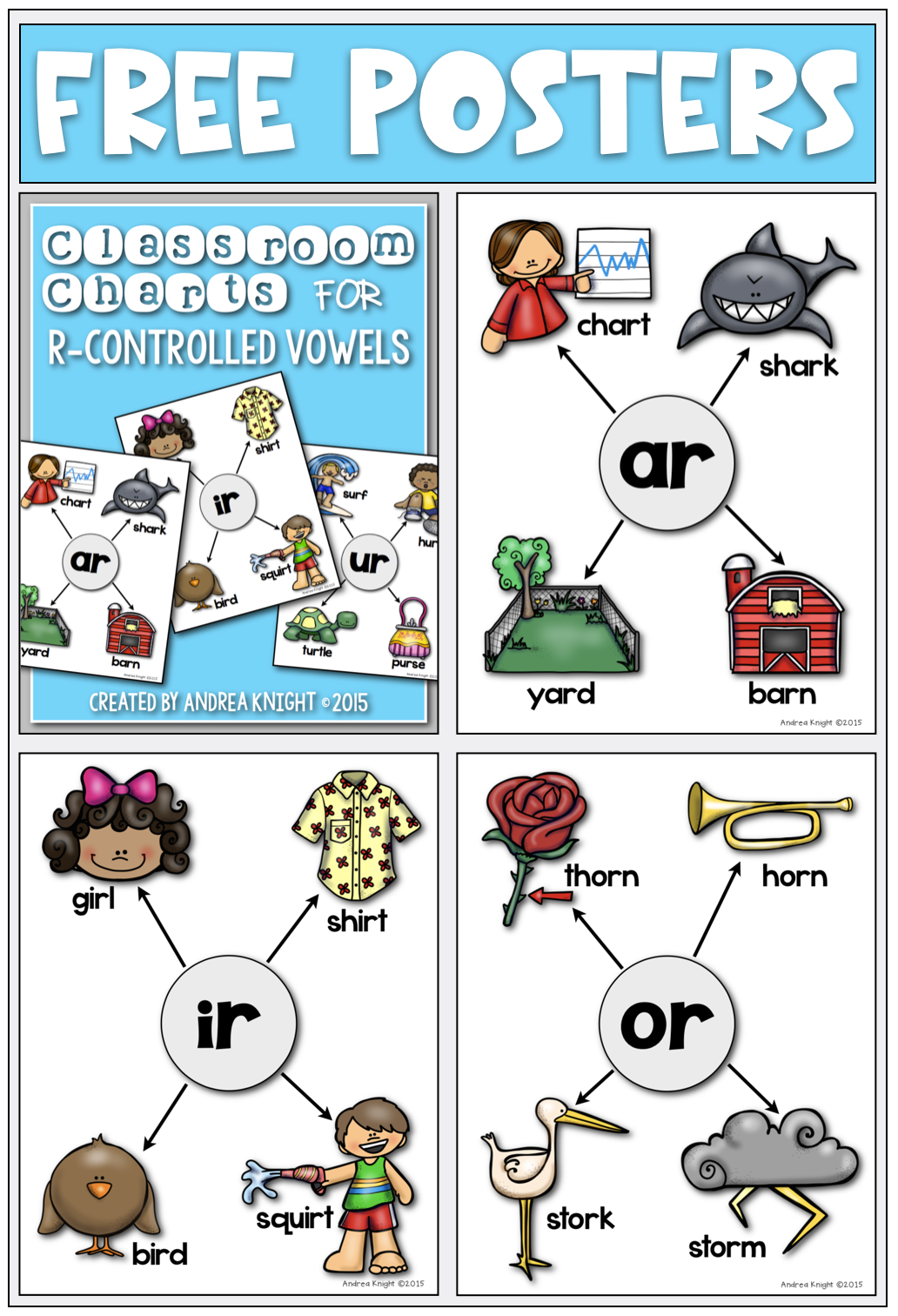 R Controlled Vowels Set Of 5 Classroom Charts