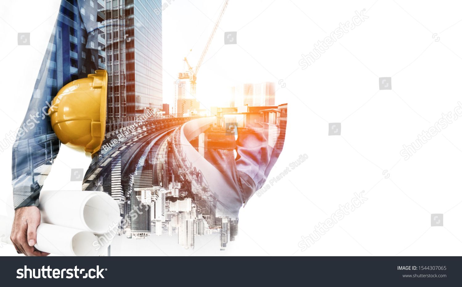 Future Building Construction Engineering Project Concept With Double Exposure Graphic Design Building E Double Exposure Business Stock Photos Future Buildings