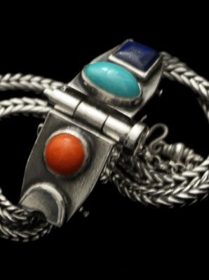 60d16fc9de95 Pulsera de dos cadenas de plata con piedras engarzadas I Plata Nativa