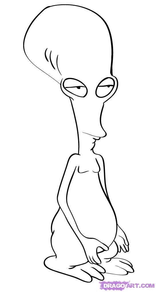 How To Draw Roger The Alien From American Dad By Dawn Alien
