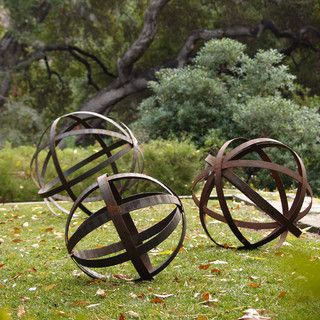 Iron Sphere Rusted In Garden Ornaments Contemporary Outdoor Decor Los Angeles By Potted