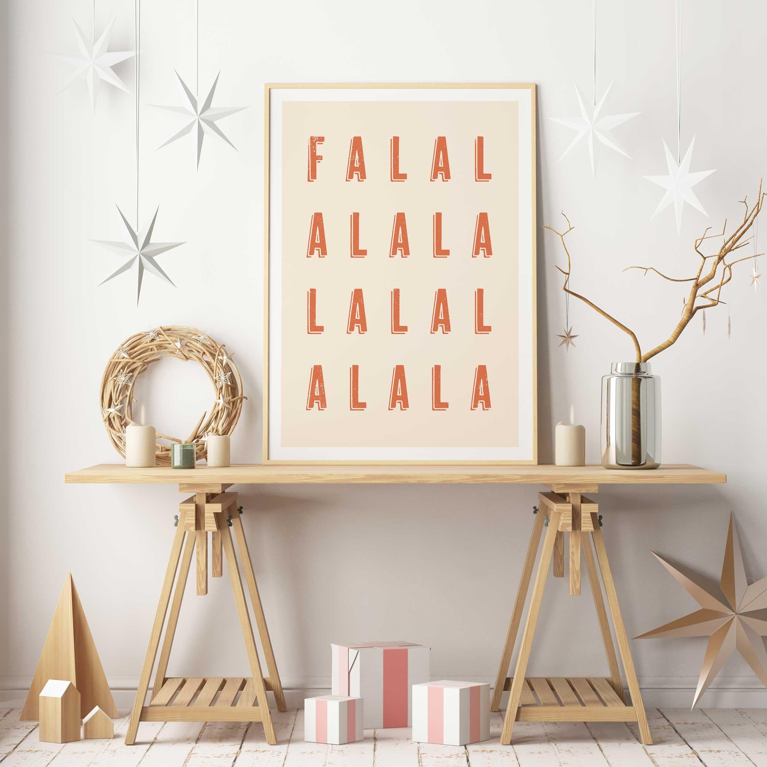 Deck The Halls, Fa La La La La, Christmas Carol, Printable Wall Art, Quote Print, Nordic Decor ...