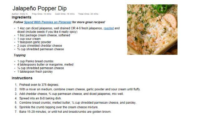 Jalapeño popper dip