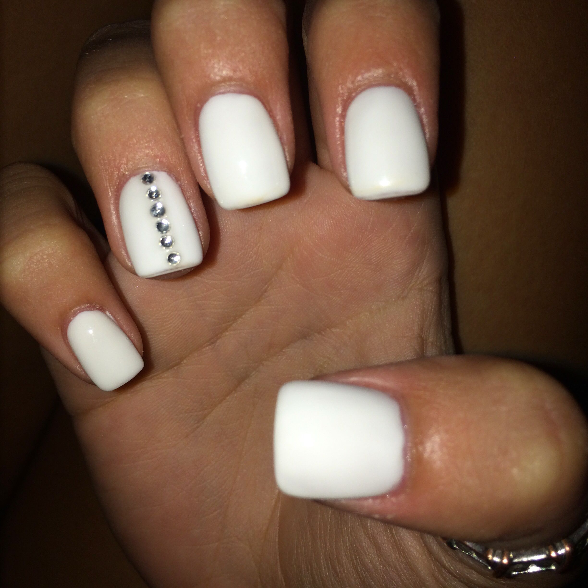 Cute White Acrylics With Gem Design Nail Tip Designs Nail Designs White Nails