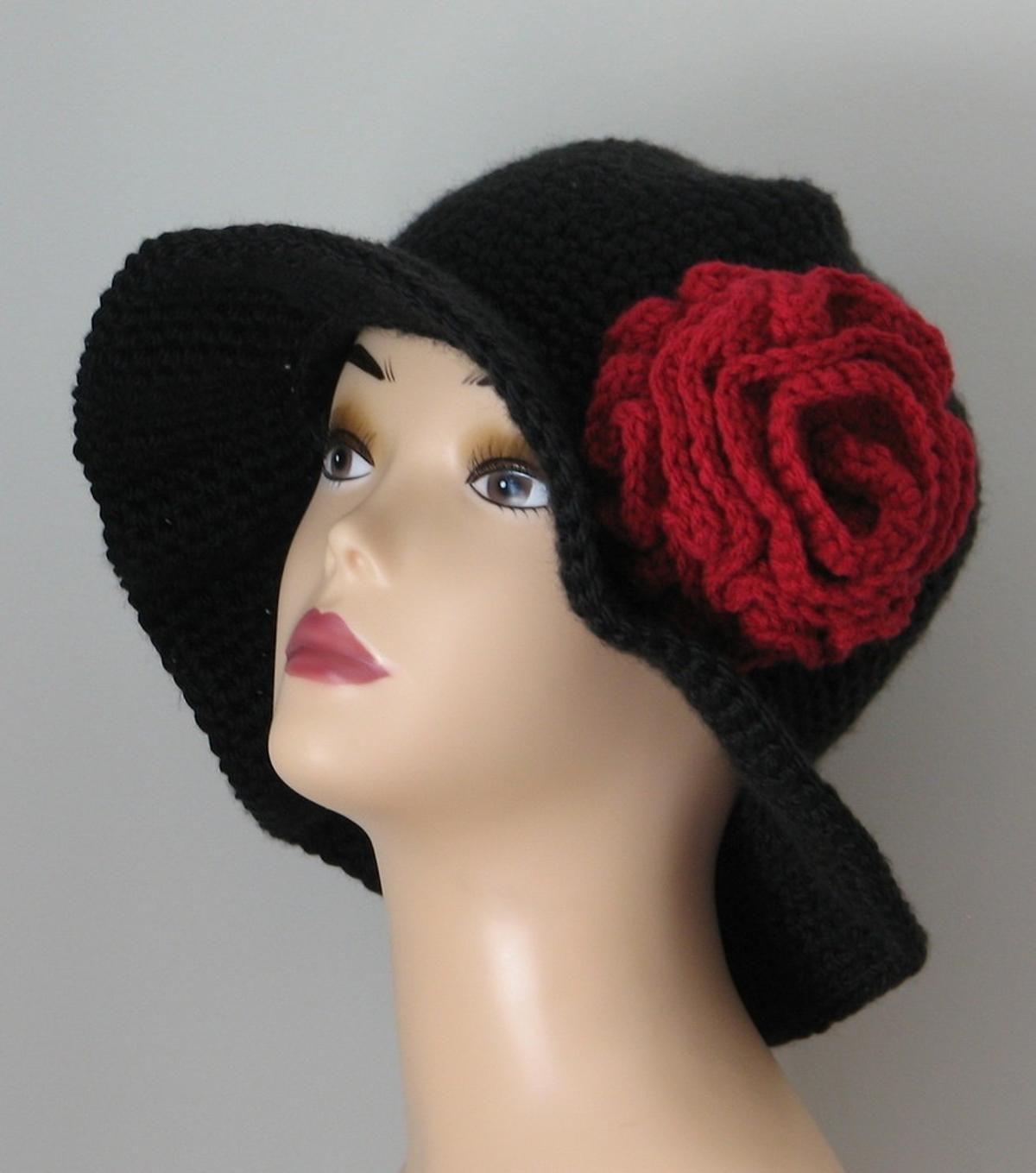 Old Spanish Rose Wide Brim Winter Hat | Crocheting patterns, Crochet ...