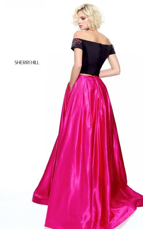 Black Fuchsia Sherri Hill 51101 Two Piece A Line Prom Dress