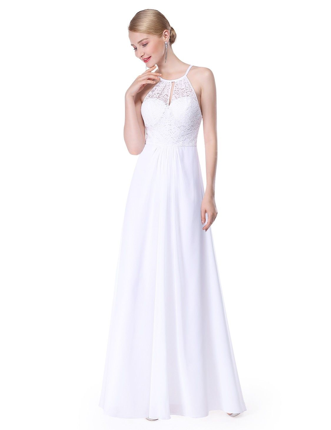 Long open back bridesmaid dress with lace bodice pinterest lace