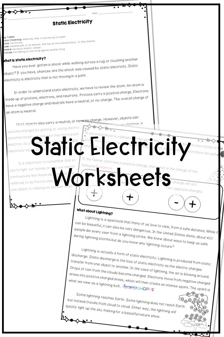 Static Electricity Reading Activity Static Electricity