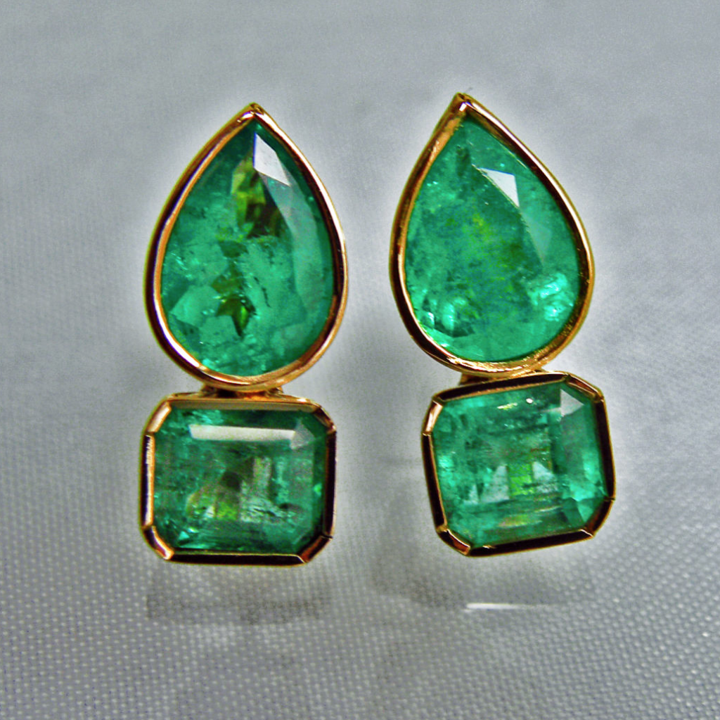 Emeraldsmaravellous 4 60ct Magnificent Natural Emerald Earrings 18k Gold