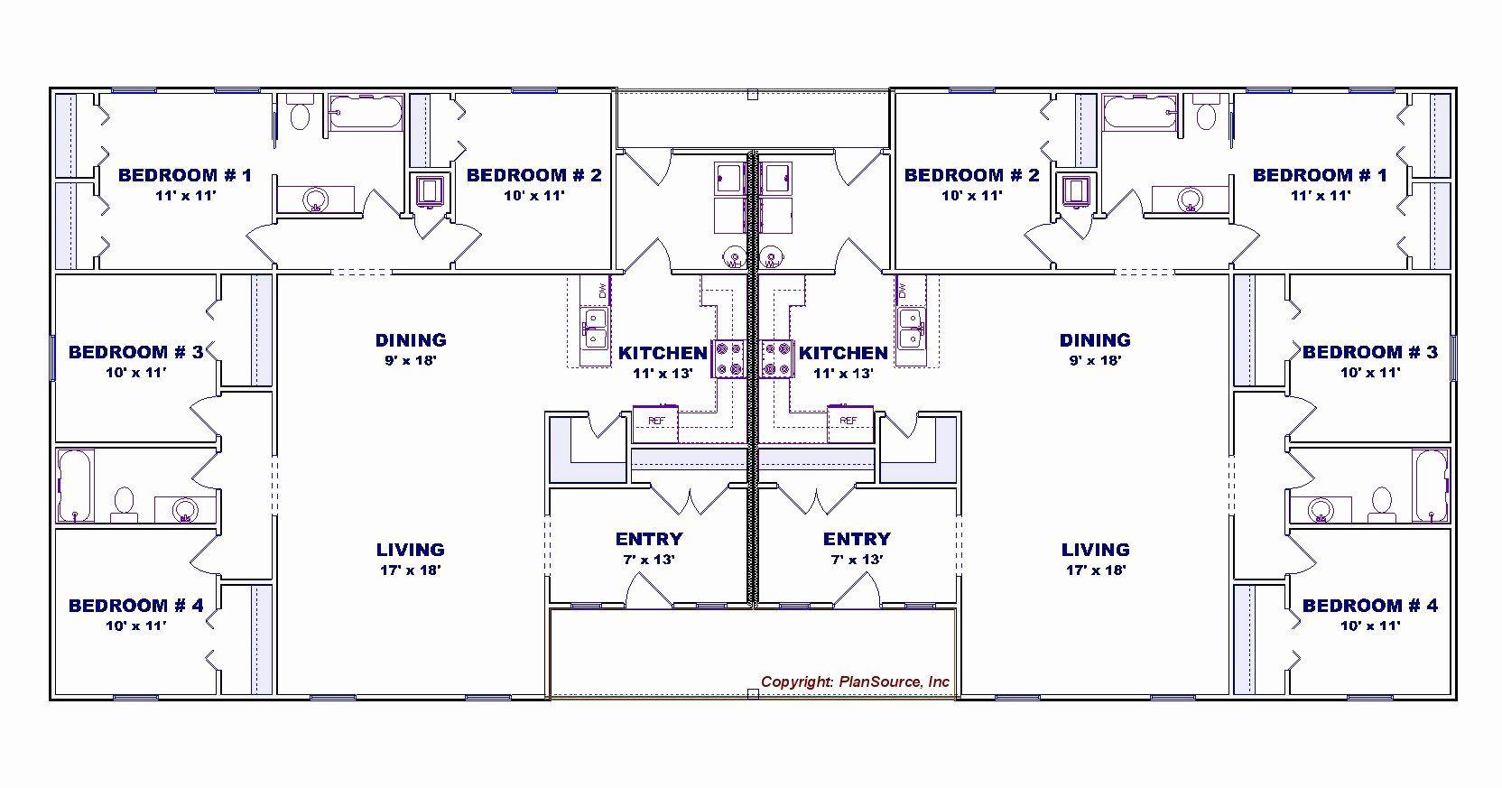 Duplex House Plans 4 Bedrooms Inspirational 4 Bedroom Duplex House Plan J0602 13d In 2020 Duplex Floor Plans Duplex House Plans House Plans