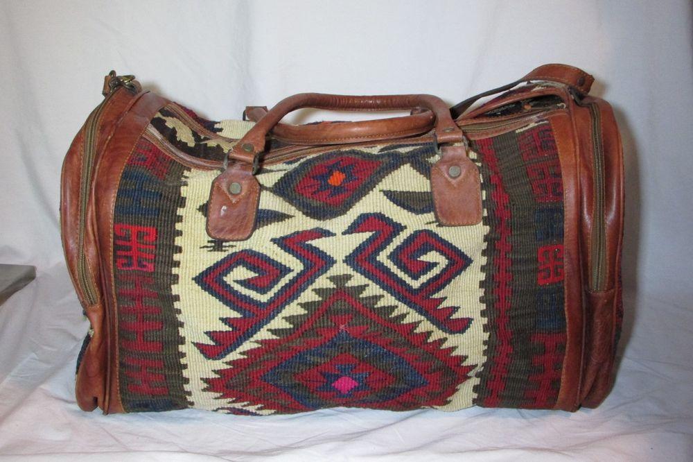 vtg yum art kilim carpet bag duffel travel bag turkish wool leather 1980 s