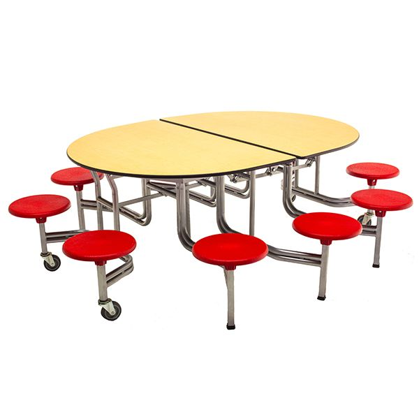 Elliptical Mobile Stool Cafeteria Table 6 1 L 10 Stools Cafeteria Table Table Leather Dining Room Chairs