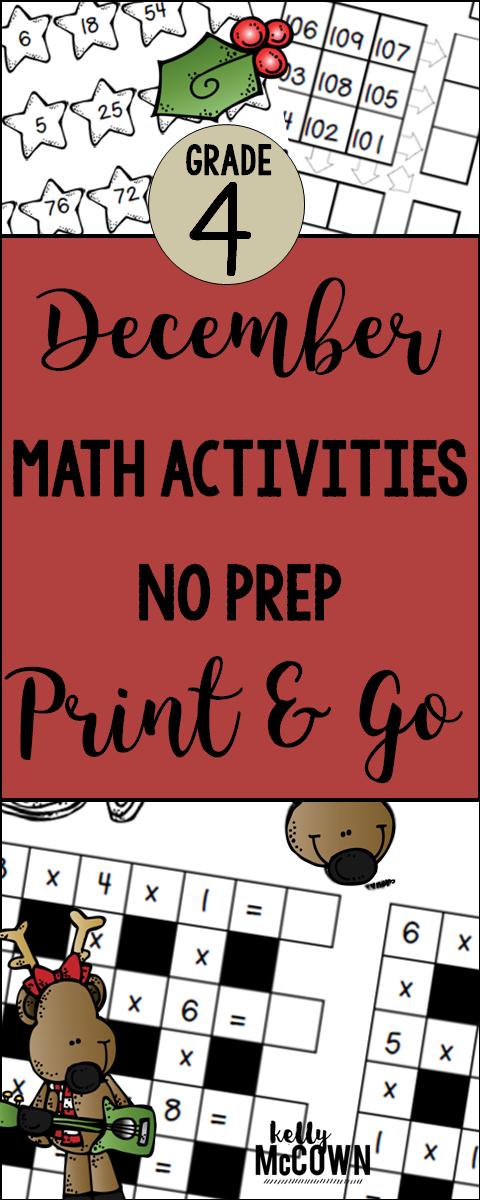 December NO PREP Math Packet 4th Grade Christmas math