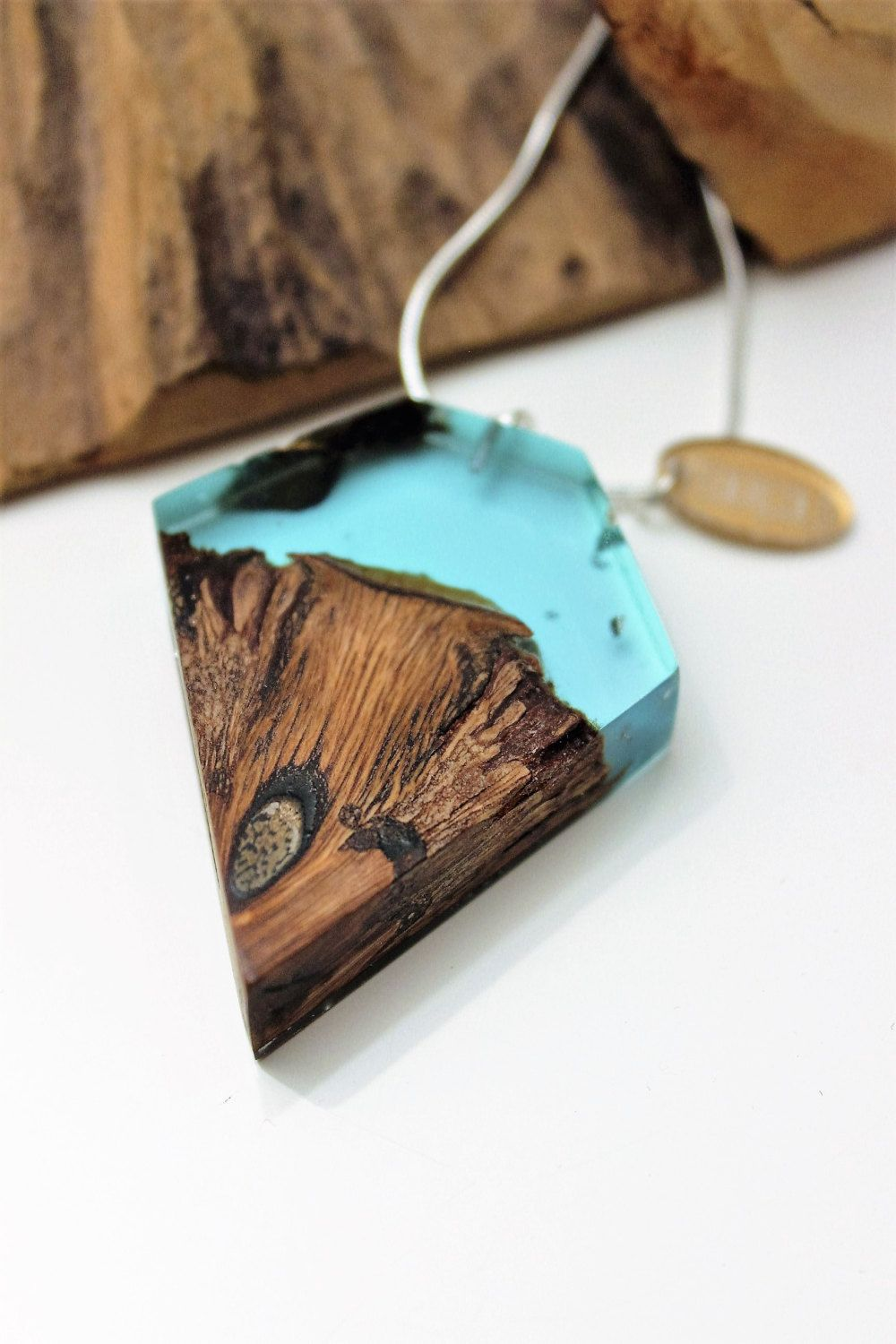 Holz Epoxidharzbeschichtung Silver Necklace With Wood Resin Pendant Handmade Pendant Made Of