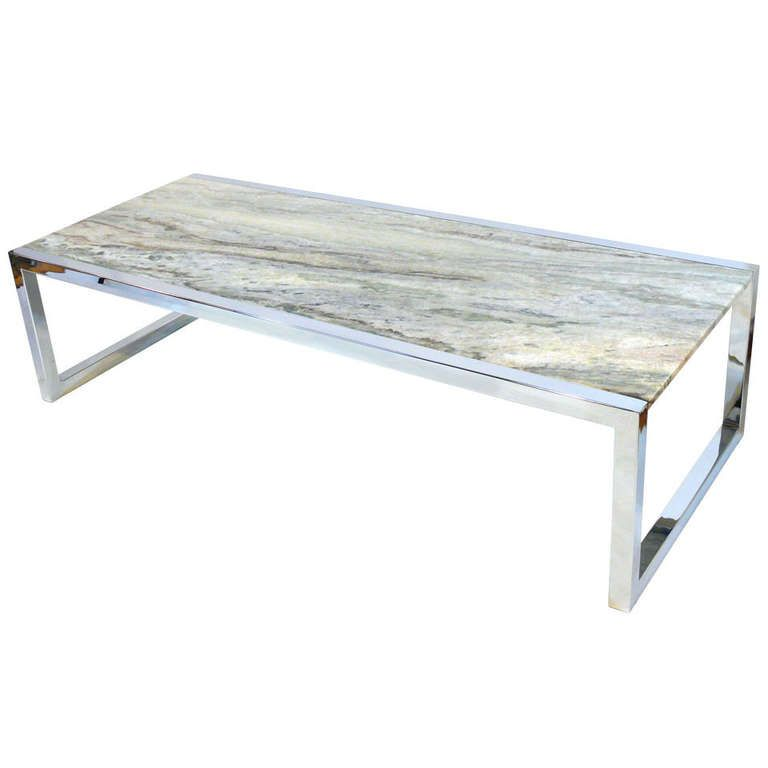 Amazing Milo Baughman Chrome And Marble Coffee Table | From A Unique Collection Of  Antique And Modern