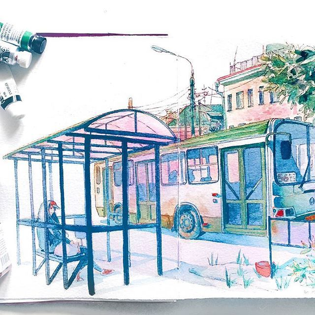 At A Bus Stop Colorful Pictures Human Sketch Art