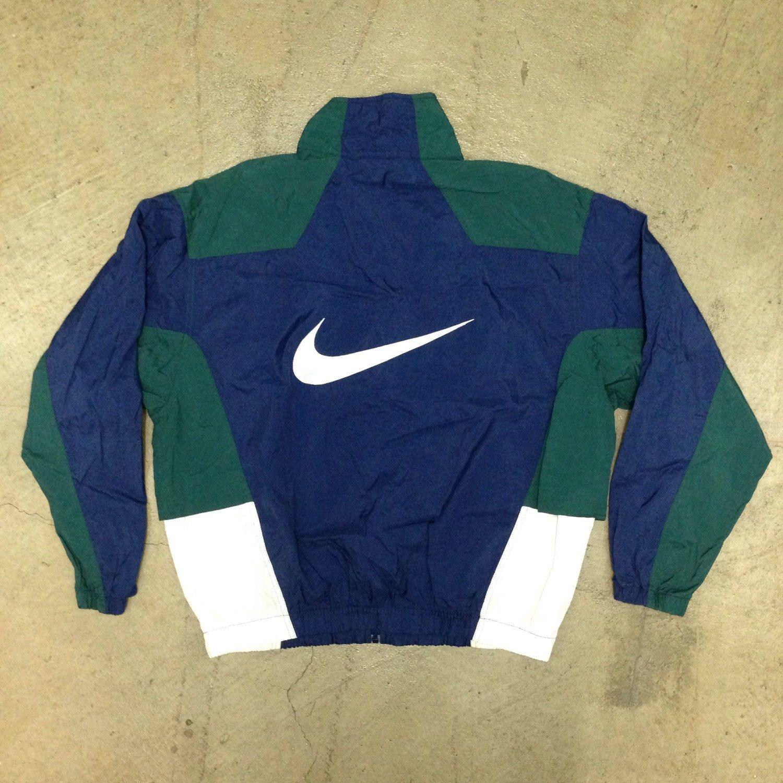 Vintage 90s Nike Navy Blue Hunter Green White Windbreaker Large White Windbreaker Vintage Jacket Nike
