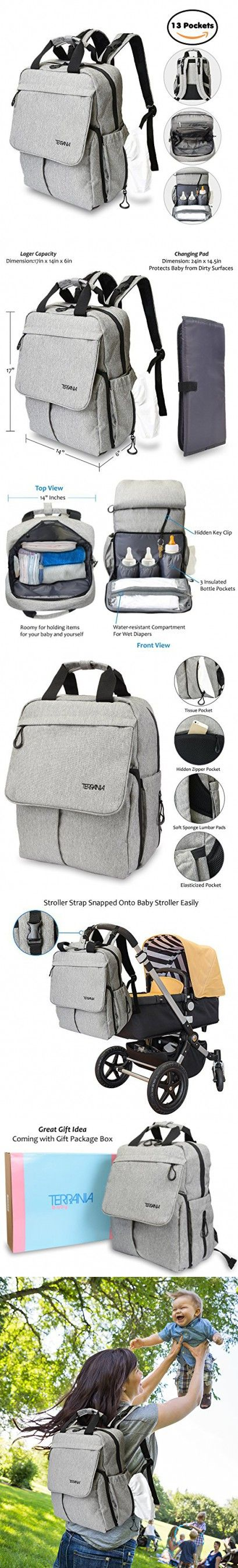 7bc419acba Terrania Nappy Bag Baby Diaper Backpack for Travel Water-resistant Grey