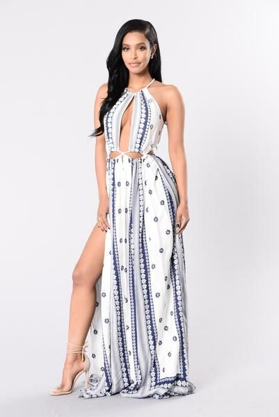 Dope In Rope Dress - Ivory/Navy