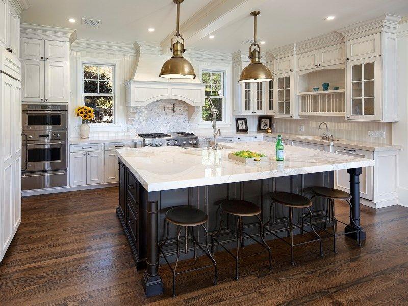 Traditional Kitchen with U-shaped, Stone Tile, Kitchen island, Flat