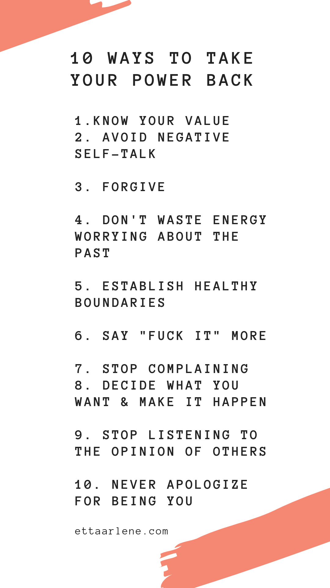10 Ways to Take Your Power Back   ETTA ARLENE
