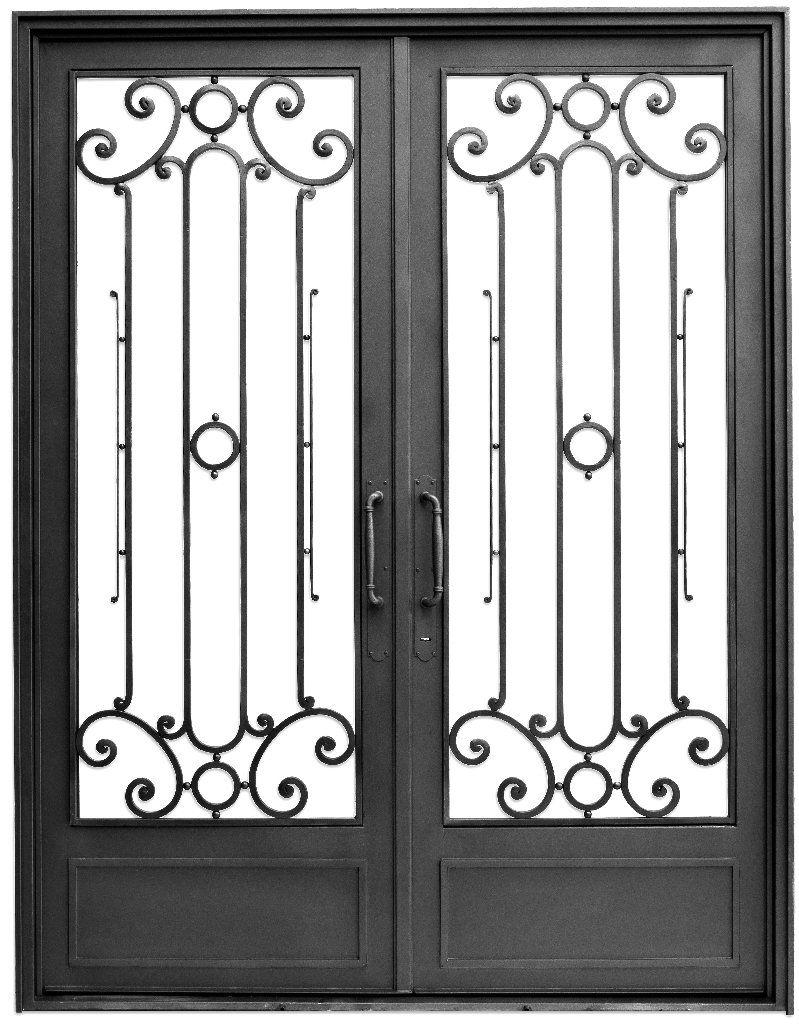Puerta doble hoja recta amapola del hierro design for Puertas dobles de hierro antiguas