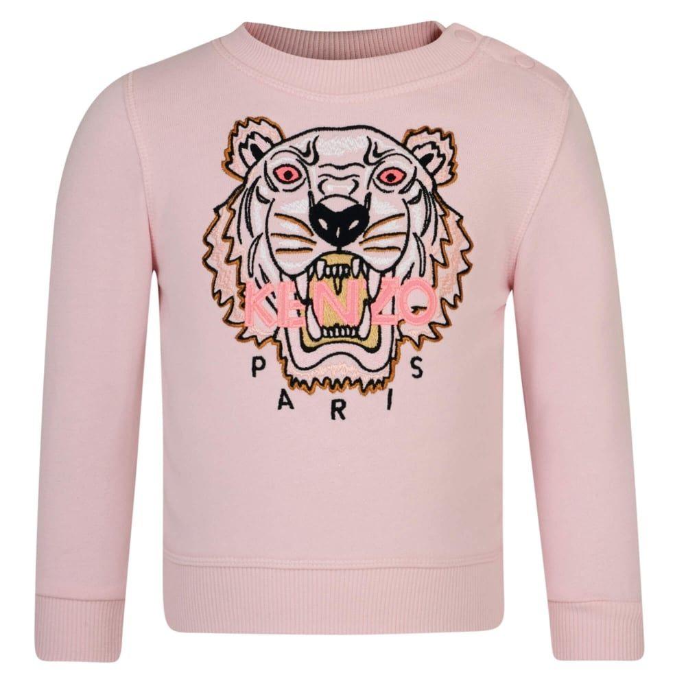 69359c7224ab72 Kenzo Kids Baby Girls Pale Pink Tiger Logo Sweatshirt | Kenzo ...