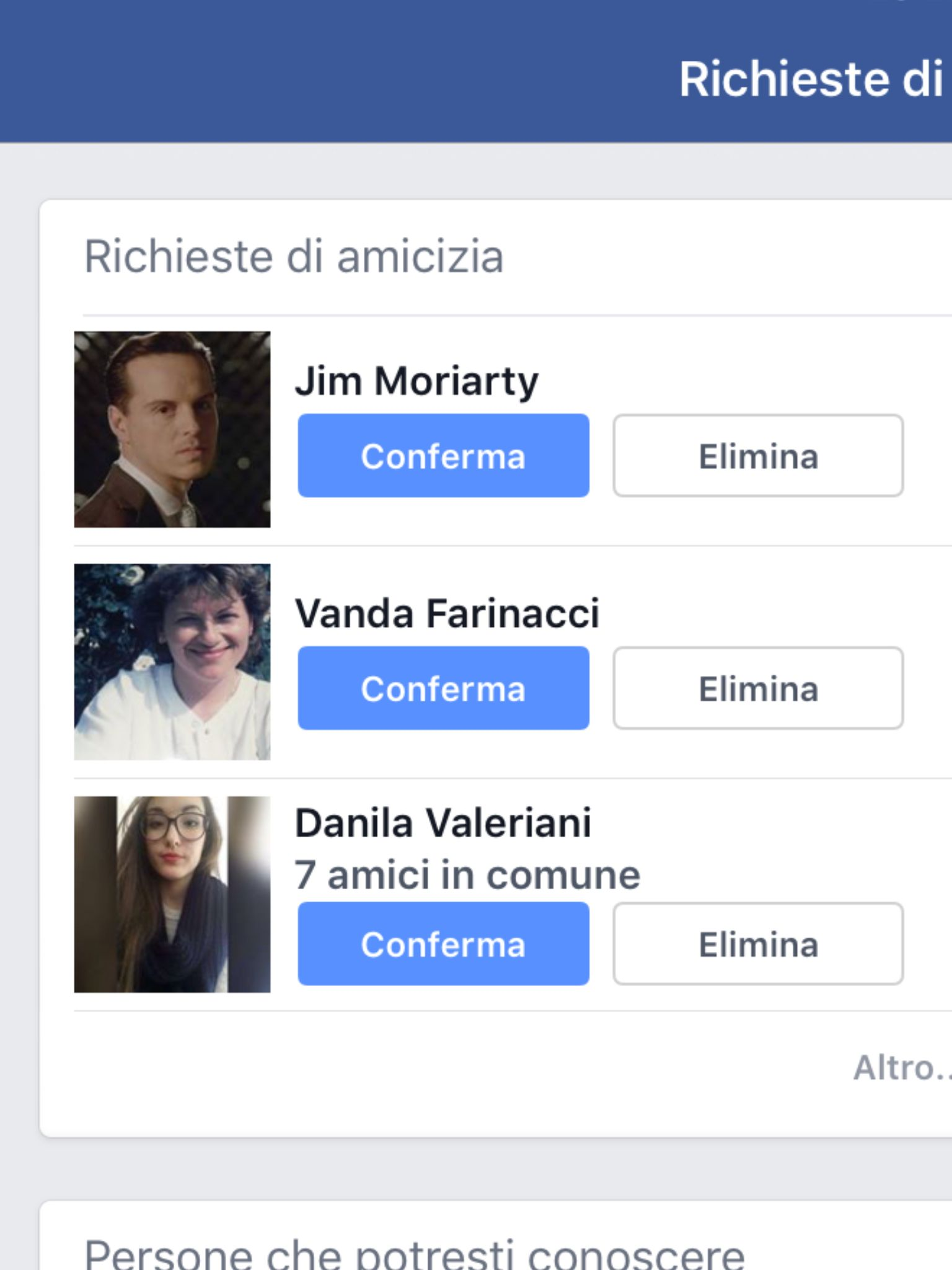 When Moriarty asks to be your friend on Facebook....