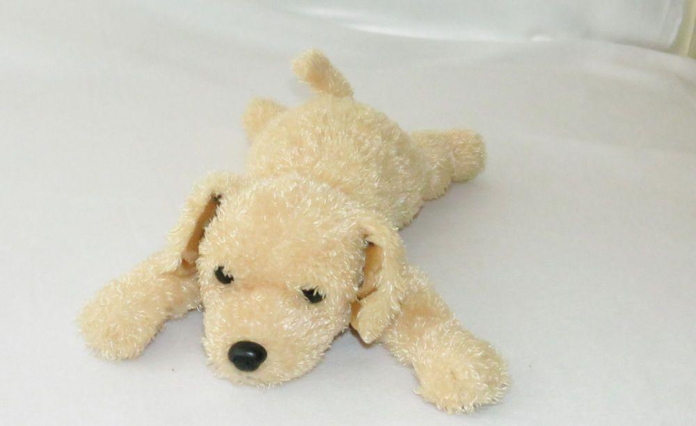 Ty Classic Nipsey Shaggy Yellow Puppy Dog Plush Collar Tan Gold 17