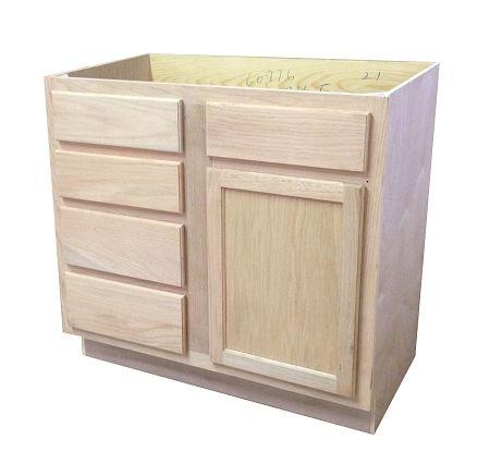 Barthroom Vanity Sink Drawer Base 36unfinished Oak Vanities