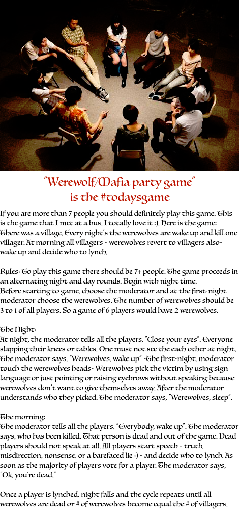 """Werewolf/Mafia party game"" is the todaygame If you are"