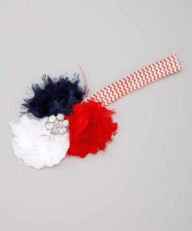 Loving this Red & Blue Shabby Flower Headband on #zulily! #zulilyfinds