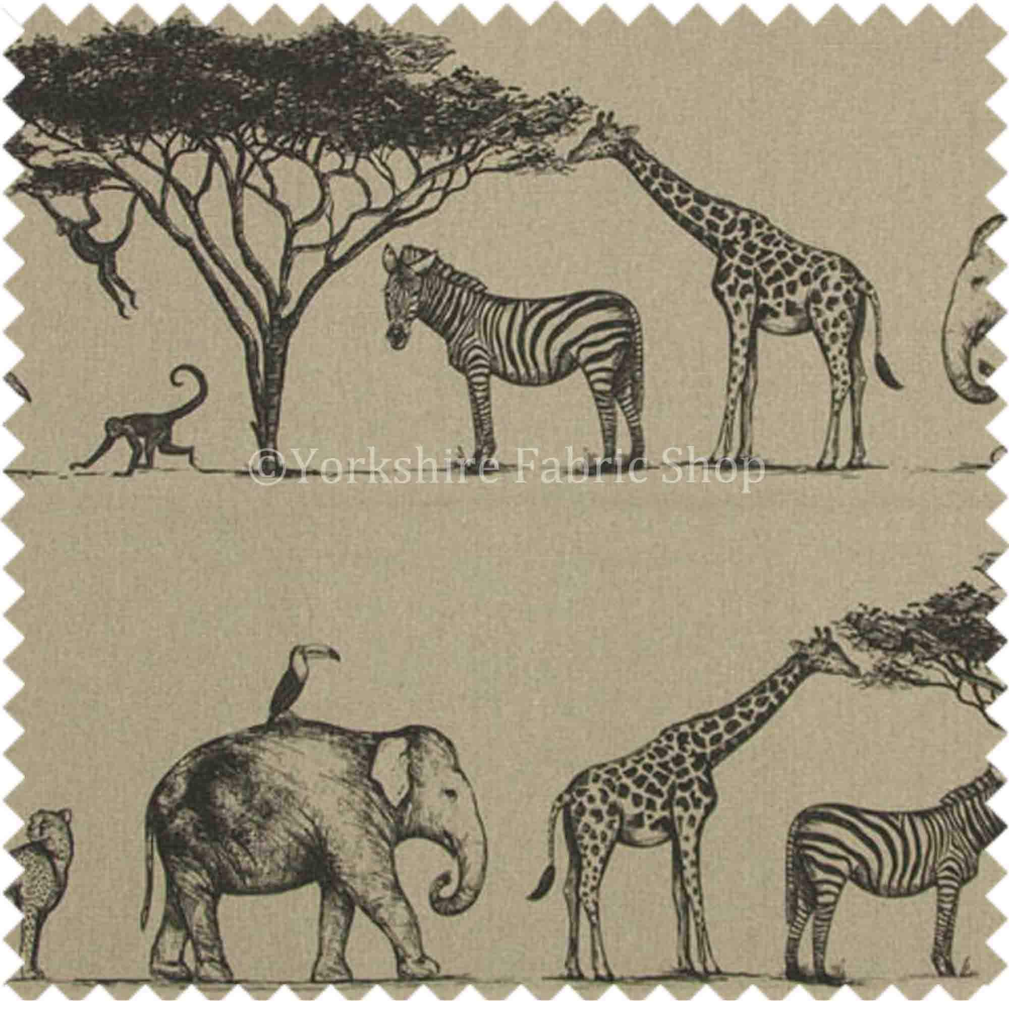 African Safari Animals Inspired Pattern Printed Linen Upholstery Fabric