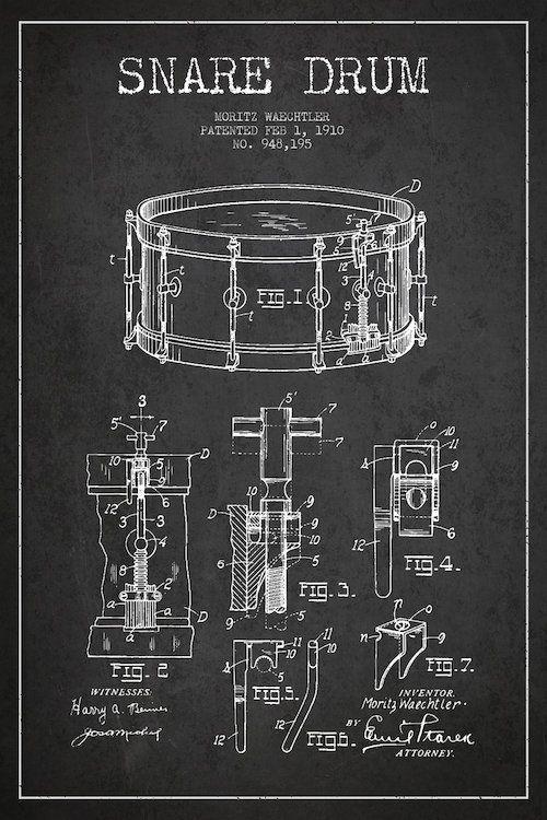 Waechtler Snare Charcoal Patent Blueprint Canvas ...