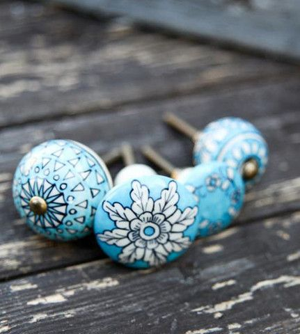 Flower Tulsi Knob - These enchanting turquoise knobs come in a selection of stunning designs. Mix and match for an eclectic look.  Each handpainted knob helps to promote and develop the traditional skills of the artisans who have astounding craftsman ability, but challenging living standard and restricted opportunities.