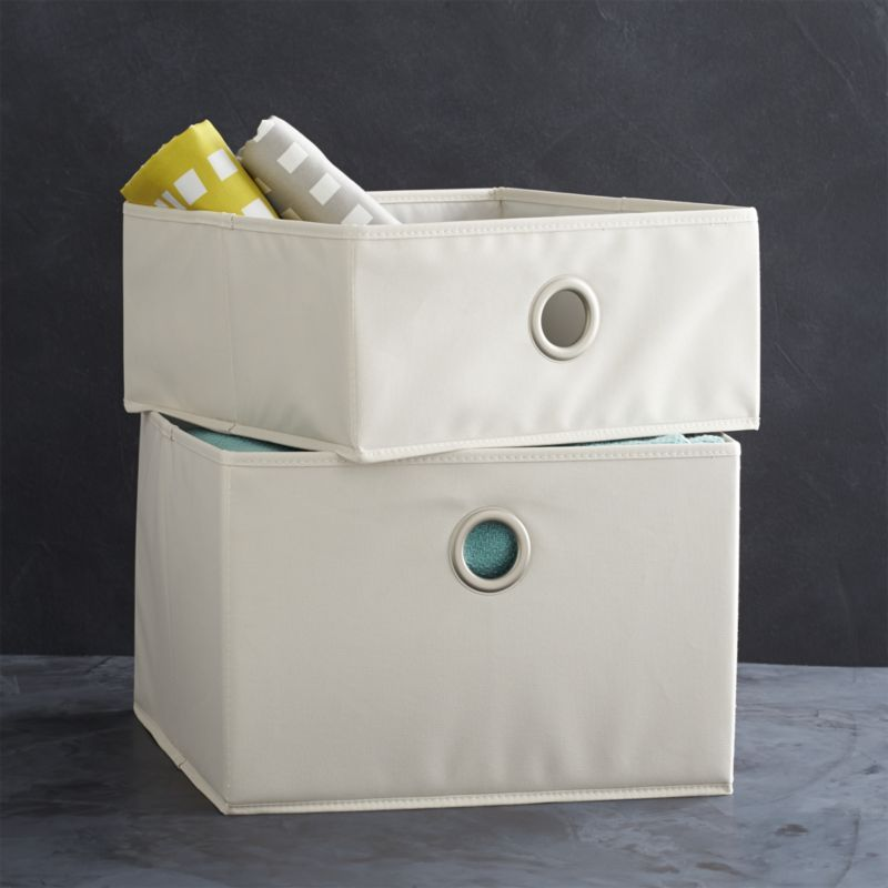 Neutral Open Storage Bins With Oversized Grommet Pulls Provide All Purpose  Storage Around The House