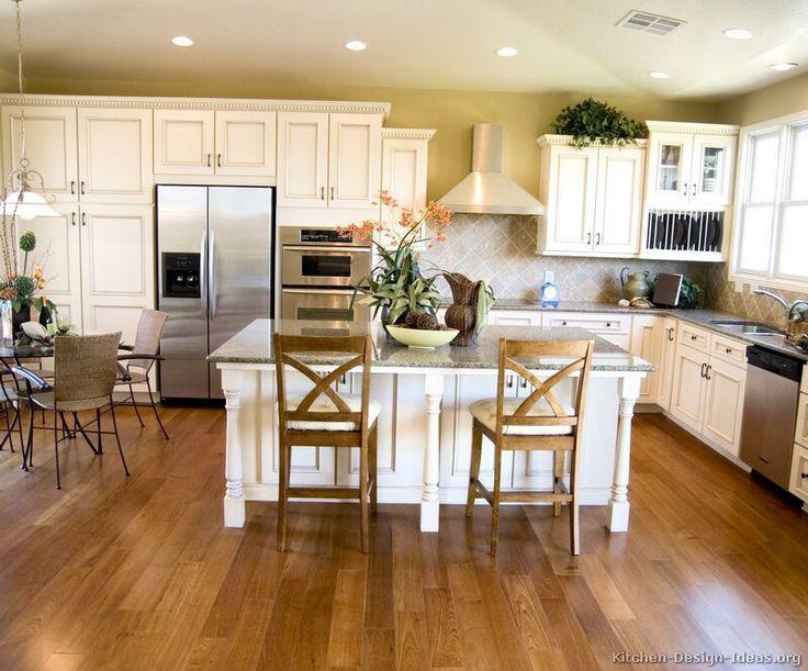 Antique White Kitchen Ideas Part - 50: 19 Antique White Kitchen Cabinets Ideas With Picture [BEST] | Kitchen  Design, Kitchens And Kitchen Island Table