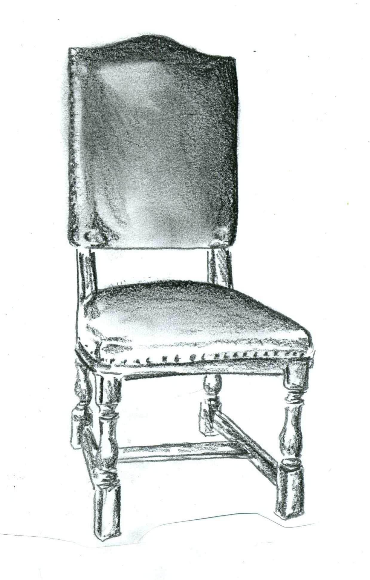 Queen Anne Wingback chair sketch Andrea Andert