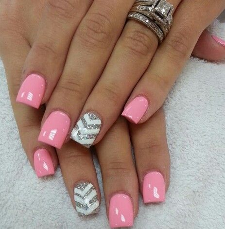 Pink Glittery Chevron nails. The next time I get a ...