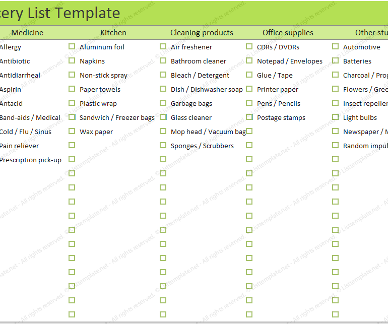 Office Supply Checklist Template Permalink To Grocery List Template For Household  Organize List .