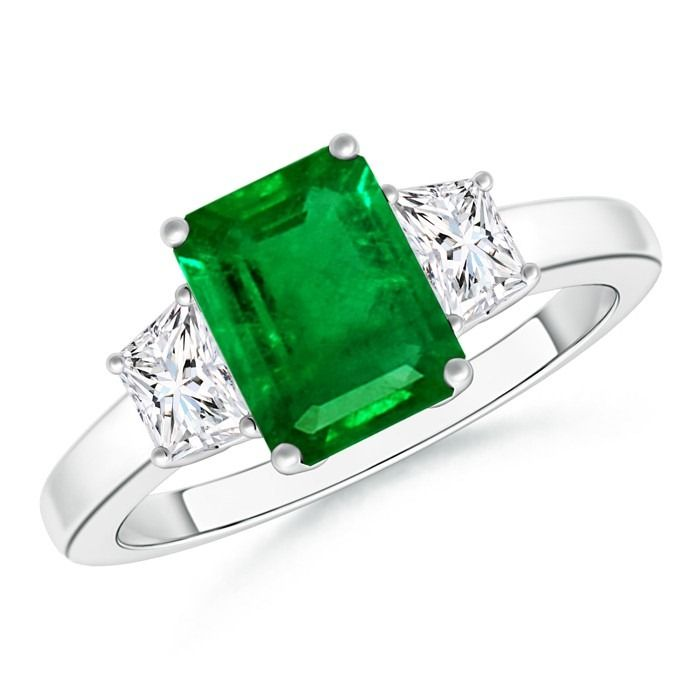Angara 3 Stone Diamond Engagement Ring with Emerald Side Stone in Platinum GIapH4G