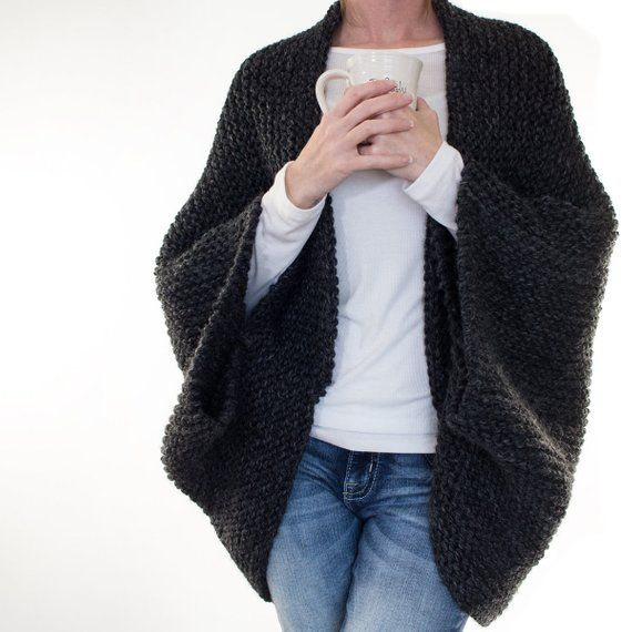Knitting Pattern - Oversized Scoop Sweater - Knit Cocoon Blanket Sweater - MEDITATION #blanketsweater