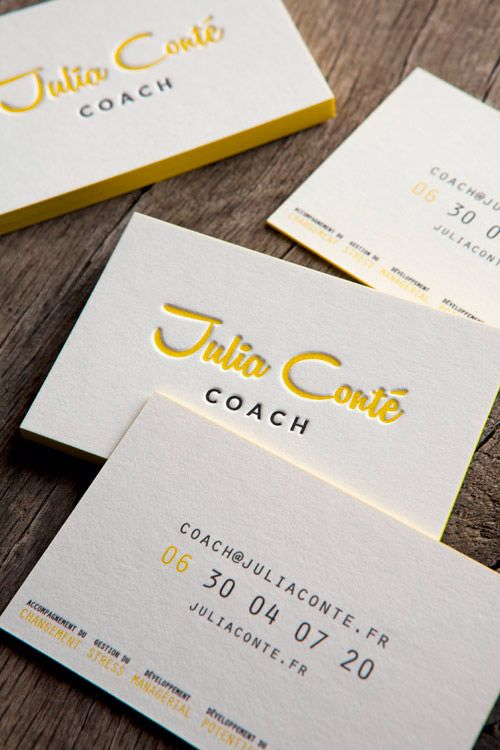 Cartes De Visite Impression Typo Jaune Et Noir Recto Verso Letterpress Business Cards With 2 Colors Onto Both Faces