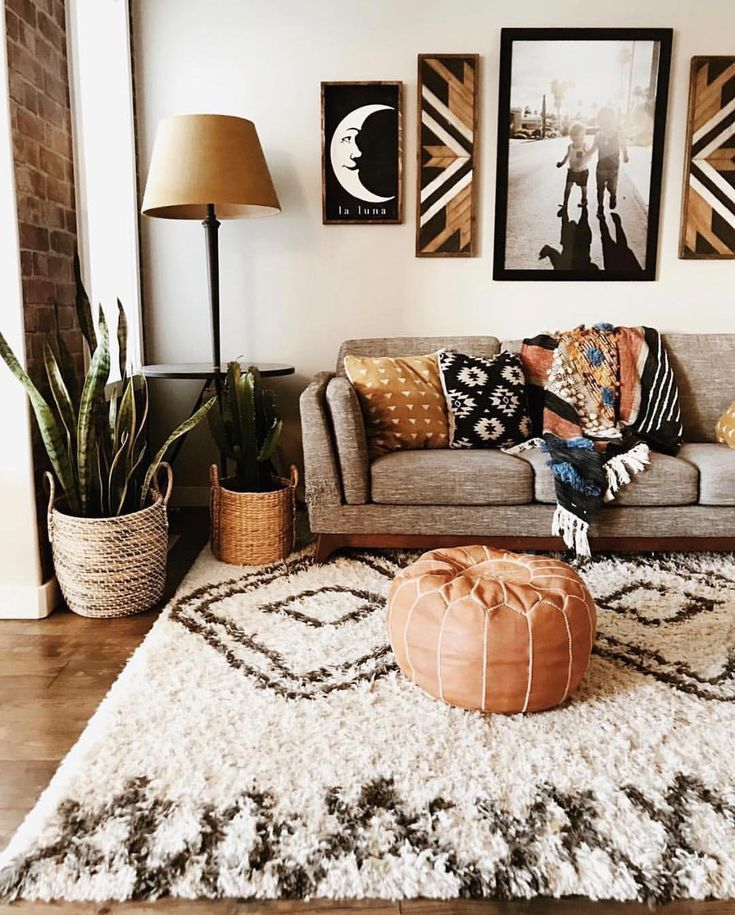 Beautiful boho living room in the southwest style. The Rostoran