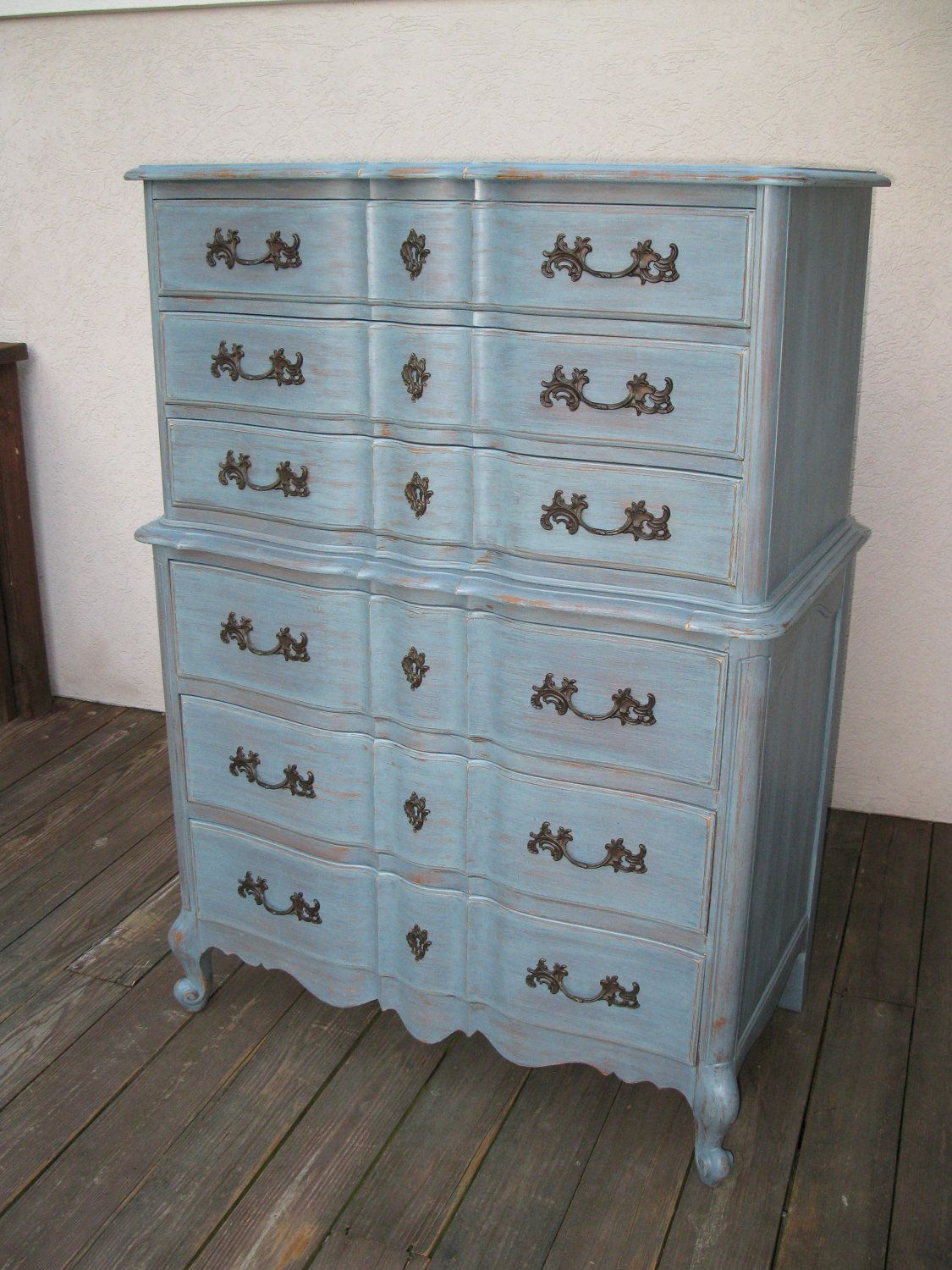 Chic And Shabby Blue Grey Tall Dresser Or Bedroom Set Chic Grey And Shabby Chic