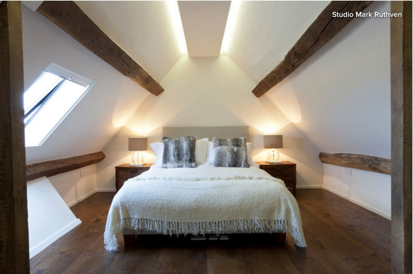 Led strip indirect lighting on attic conversion lighting for Attic bedroom ideas